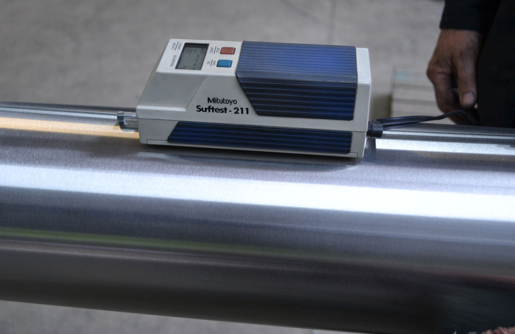 Stainless steel surface finish Ra testing